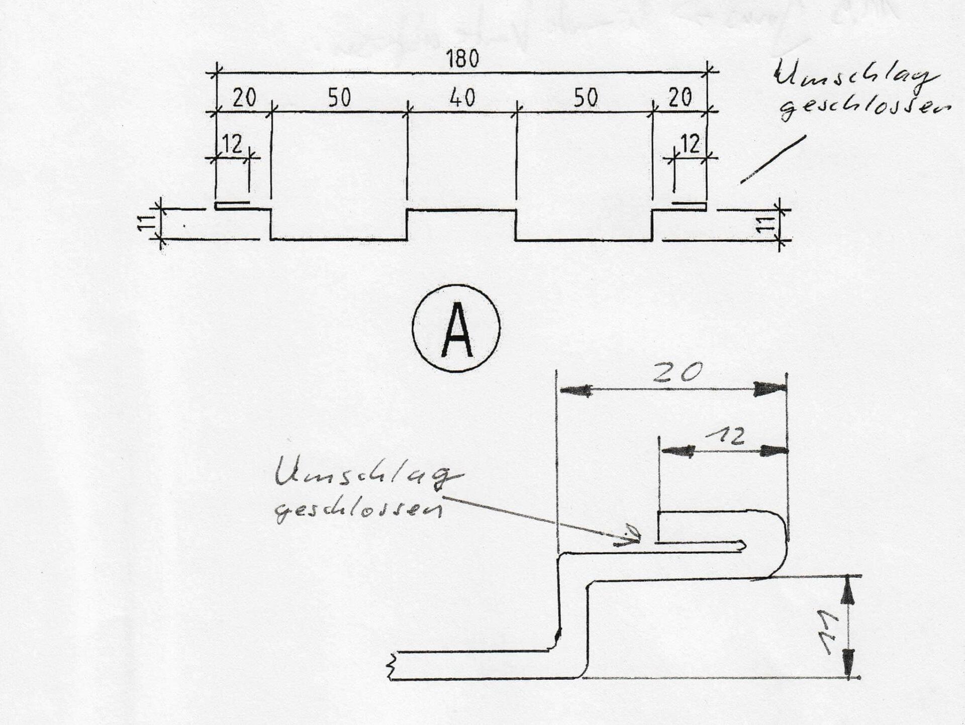 TYPISCHES KUNDENPROFIL:Eine von rund 30 Zeichnungen mit einem typischen Kundenprofil, die SCHRAG im Rahmen des Auswahlverfahrens den ausgewählten Herstellern vorab hat zukommen und biegen lassen.